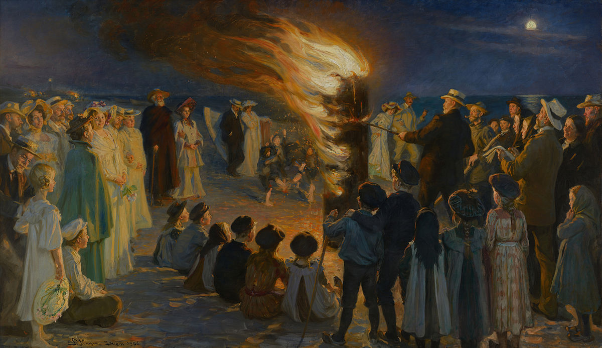 Midsummer Eve bonfire on Skagen's beach