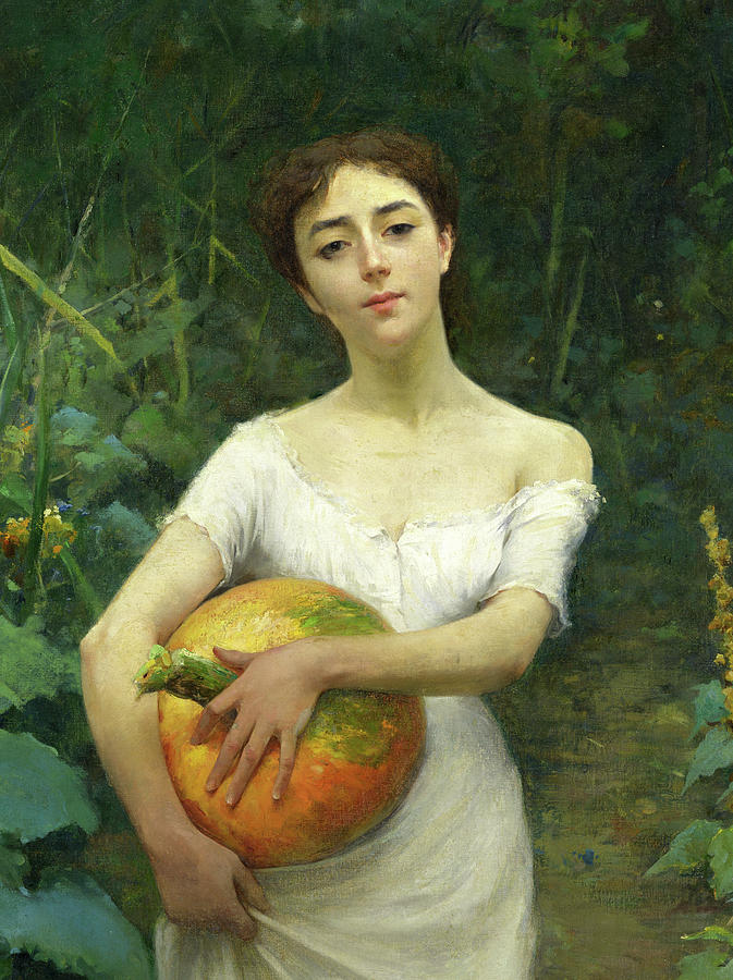 Young Girl Carrying a Pumpkin
